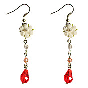 Handmade White Rose Bouquet Pays Lolita Boucles d'oreilles