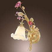 40W Nature Inspired Wall Light with Glass Floral Shade and Metal Branch Arm E14/E12