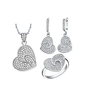 18K Elegant Plated With Rhinestone Women's Including Necklaces Earrings Rings