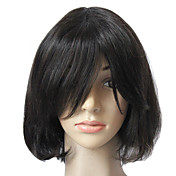 Full Front 100% Real Human Hair Black Short Hair Wig