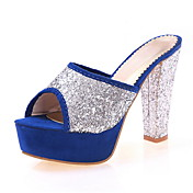 Suede Sequin Chunky Heel Peep Toe Slippers Party / Evening Shoes(More Colors)