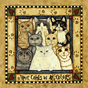 Printed Art Animal Love Comes In All Colors by Robin Betterley