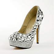 Moda Couro Stiletto Heel Bombas com strass partido / Evening Shoes