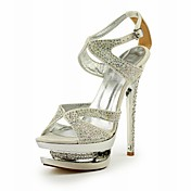 Elegant Leather Stiletto Heel Sandals With Rhinestone Party/Evening Shoes