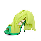 Stylish Leatherette/Silk Stiletto Heel Sandals With Buckle  Party / Evening Shoes(More Colors)