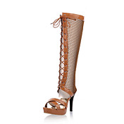 Fashion Leatherette Stiletto Heel Knee-high Boots With Lace-up Party / Evening Shoes(More Colors)