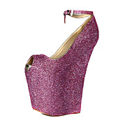 Leather Rhinestones Wedge Heel Peep Toe Pumps Ankle-Strap Party / Evening Shoes