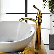 Contemporary Centerset Ti-PVD Finish Bathroom Sink Faucets