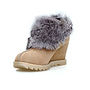 Fabulous Leather Wedge Heel Ankle Boots With Fur Party/Evening Shoes(More Colors)