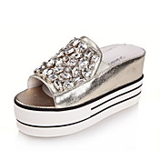 Specific Leather Platform Heel Slippers With Rhinestone Casual Shoes(More Colors)