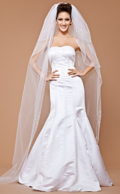 Three-tier Tulle Chapel Wedding Veil With Beaded Edge (More Colors Available)