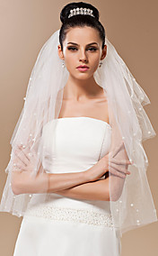 Four-tier Tulle With Pearls Fingertip Veil (More Colors)
