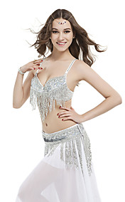 Dancewear Polyester With Beading Performance Bely Top And Belt for Ladies More Colors