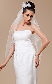 Two-tier Cut Edge Tulle With Bead Fingertip Veil