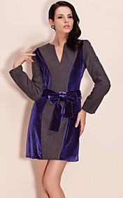 TS Color Block Wool And Velvet Mix Fabric Dress