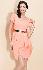 TS Irregular Hem Chiffon Belted Dress