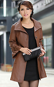 Long Sleeve Party/Evening Lambskin Leather Coat(More Colors)