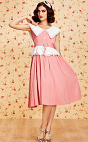 TS Vintage Sleeveless Lapel Swing Dress