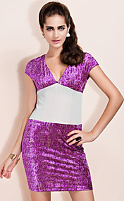 TS Purple And Grey Velvet Vintage Dress