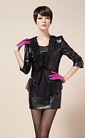 3/4 Sleeve Turndown Collar Lambskin Leateher Jacket(More Colors)
