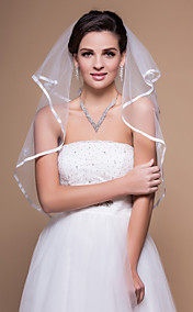 2 Layers Elbow Wedding Veils With Ribbon/Finished Edge (More Colors)
