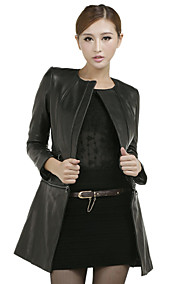Charming Long Sleeve Collarless Casual Lambskin Leather Jacket