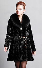 Manga comprida Fox Fur Collar Xaile Mink Fur Coat Noite / Carreira