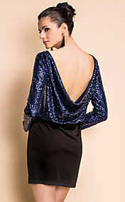 TS Back Cowls Navy Sexy Sequin Dress