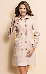 TS Simplicity Basic Double Breasted Wool Blend Coat