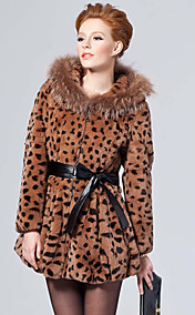 Long Sleeve Raccoon Hooded Collar Rex Rabbit Fur Casual/Party Coat