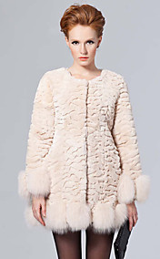 Long Sleeve Collarless Fox Fur Trim Rex Rabbit Fur Casual/Party Coat (More Colors)