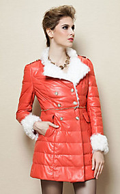 Long Sleeve Lamb Fur Turndown Collar Lambskin Leather Casual/Party Coat (More Colors)