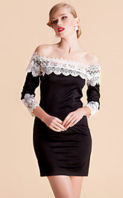TS Contrast Color Lace Off Shoulder Bodycon Dress
