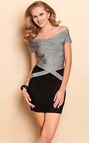 TS Boat Neck Contrast Color Bodycon Bandage Dress