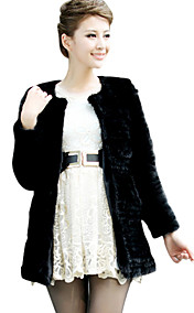 Long Sleeve Collarless Mink Fur Casual/Party Coat(More Colors)