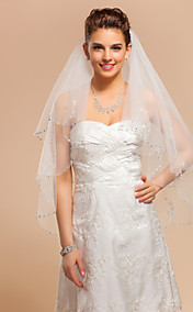 Two-tier Fingertip Wedding Veil With Applique Edge