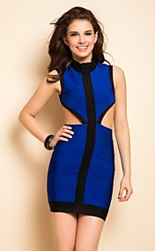 TS Backless Contrast Color Midriff Bodycon Bandage Dress