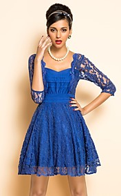TS VINTAGE U Neck Lace Swing-Kleid