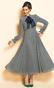 TS Print Bow Tie Collar Maxi Dress