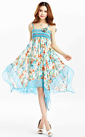 TS Chiffon Print Strap Midi-Kleid