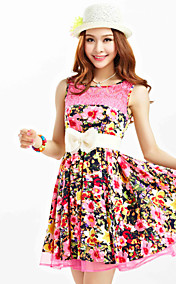 TS Print Lace Stikkende Belt Dress
