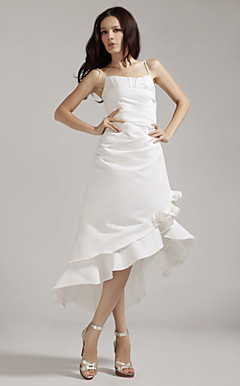 A-line Spaghetti Straps Asymmetrical Satin Wedding Dress