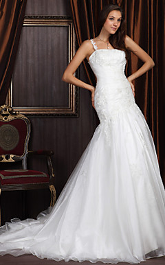 Trumpet / Mermaid One Shoulder Chapel Train Satin Organza Wedding Dress