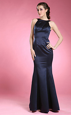 Trumpet/Mermaid Bateau Sleeveless Floor-length Satin Mother of the Bride Dress