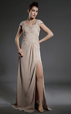 Sheath/ Column Square Neckline Floor-length Capped Sleeves Chiffon Evening Dress