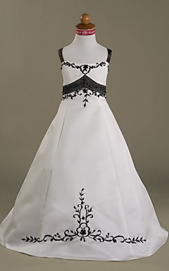 A-line Straps Floor-length Satin Flower Girl Dress