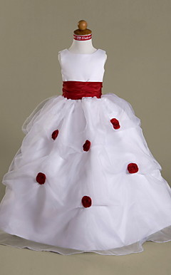 Ball Gown Scoop Floor-length Organza Over Satin Flower Girl Dress