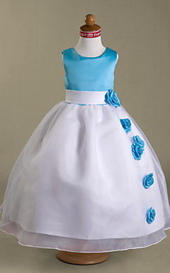 Ball Gown Scoop Floor-length Satin And Organza Flower Girl Dress