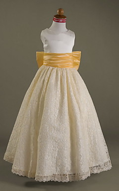 A-line Scoop Floor-length Satin And Lace Flower Girl Dress