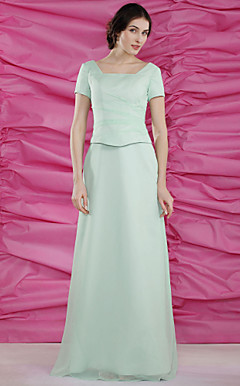 Sheath/Column Square Floor-length Satin Chiffon Mother of the Bride Dress